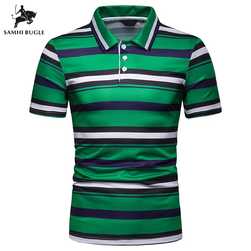 Men Polo Brand High Quality Breathable Green Orange Striped Short Sleeve Polo Shirt Cotton Slim Men's Clothing