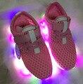 2016 лето осень мальчиков обувь освещения девушки led кроссовки детей загораются обуви малыша дети белый спорт кроссовки световой