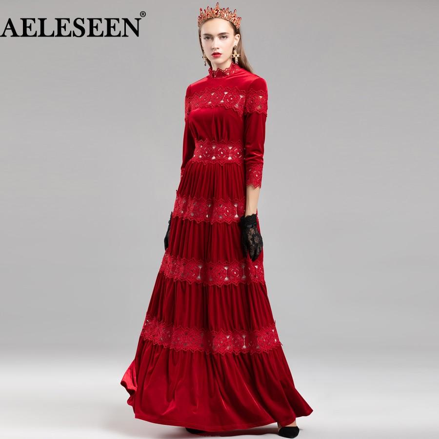 AELESEEN robe de piste hiver 2018 femmes 3/4 manches dentelle robe de soirée Patchwork rouge/noir élégant étage longueur robe de luxe