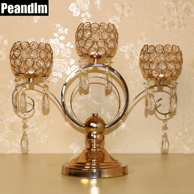 Aliexpress Buy Peandim 37cm Height Gold Plated Votive Candle