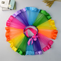 2017 New Baby Girl Skirt Kids Rainbow Pettiskirt Bowknot Tutu Skirts Hot Selling Pettiskirt Tutu For Custome Party Wedding