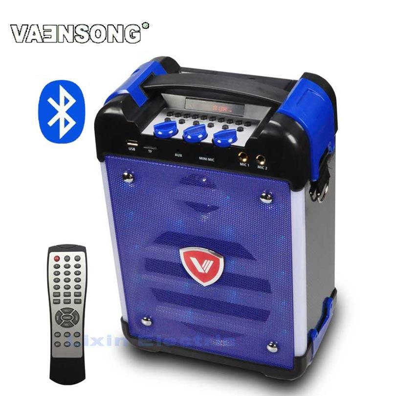 VAENSONG K6 Haute-Puissance HiFi Portable Bluetooth Haut-Parleur Subwoofer Prend En Charge USB Disques Et Microphone A FM Radio LED Lanterne bleu