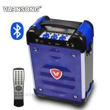 VAENSONG K6 High-Power HiFi Portable Bluetooth Speaker Subwoofer Supports USB Disks And Microphone Has FM Radio LED Lantern Blue