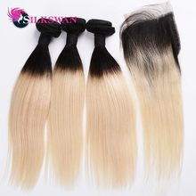 Silk Swan Ombre Blonde Bundles With Closure 1B/613 Black and Blonde Hair Bundles Dark Roots 10-28 Inch Remy Hair Weave(China)