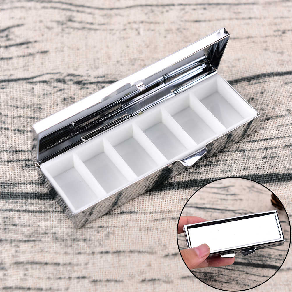 1Pc Metal 6 Grid Folding Pill Case Container For Medicines Organizer Pill Box Travel Essential 85*35*15mm