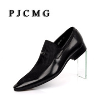 PJCMG Fashion Men Oxford Wedding Male Slip On Pointed Toe Office Genuine Leather Dress Black Size 38 44 Shoes With Horse Hair