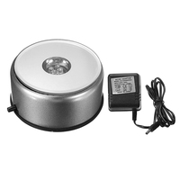 KiWarm 3 5 4 LED Coloured Light Rotating Crystal Display Base Stand With DC Adapter For