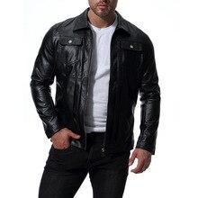 цена на MarKyi good quality pocket men's winter leather jacket 2018 new long sleeve leather coat men slim fit imported jackets