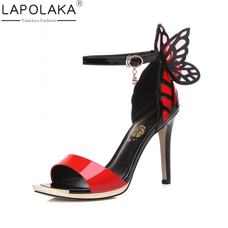 LAPOLAKA 2018 Genuine Leather Thin High Heels Butterfly Summer Sandals Shoes Sexy ankle-strap Party Wedding Women Shoes super high ladies sweet sexy summer butterfly crystal high heels sandals women platform ankle strap shoes purple wedding shoes