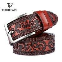 Новые дизайнерские ремни для мужчин Высокое качество корова натуральная кожа ремень модные мужские классические винтажные пряжкой ремешо...