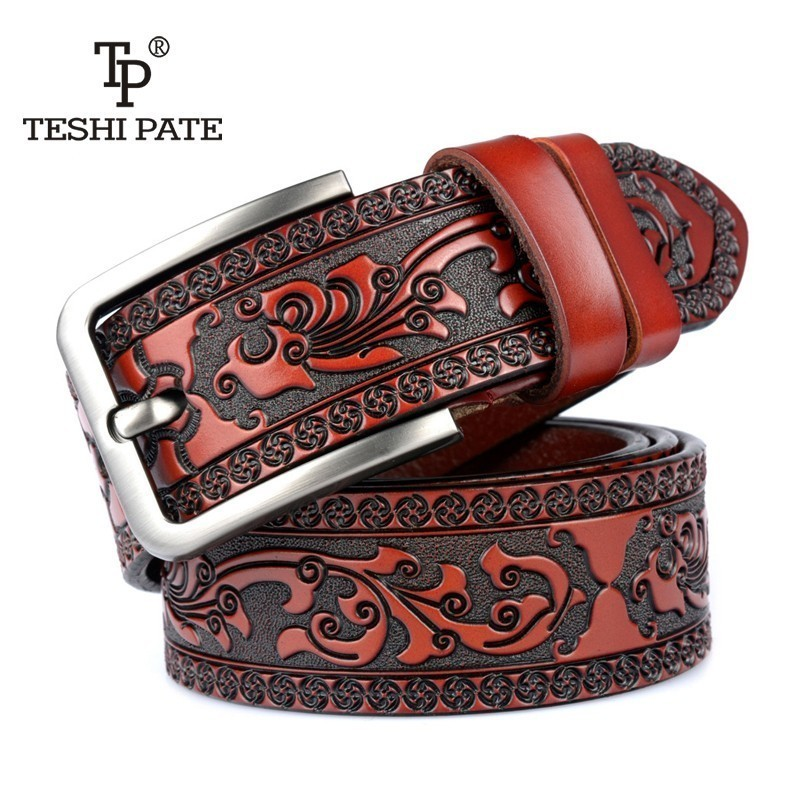 New Designer   belts   for men High quality Cow genuine leather   belt   man Fashion classic vintage pin buckle strap for cowboy jeans