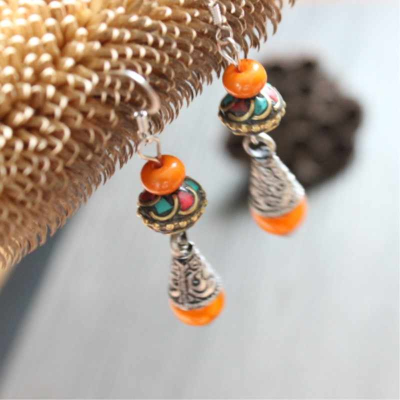 Original Luxurious National  Nepalese Bead Antique Copper Imitation Beeswax Beads Earrings Ethnic Jewelry