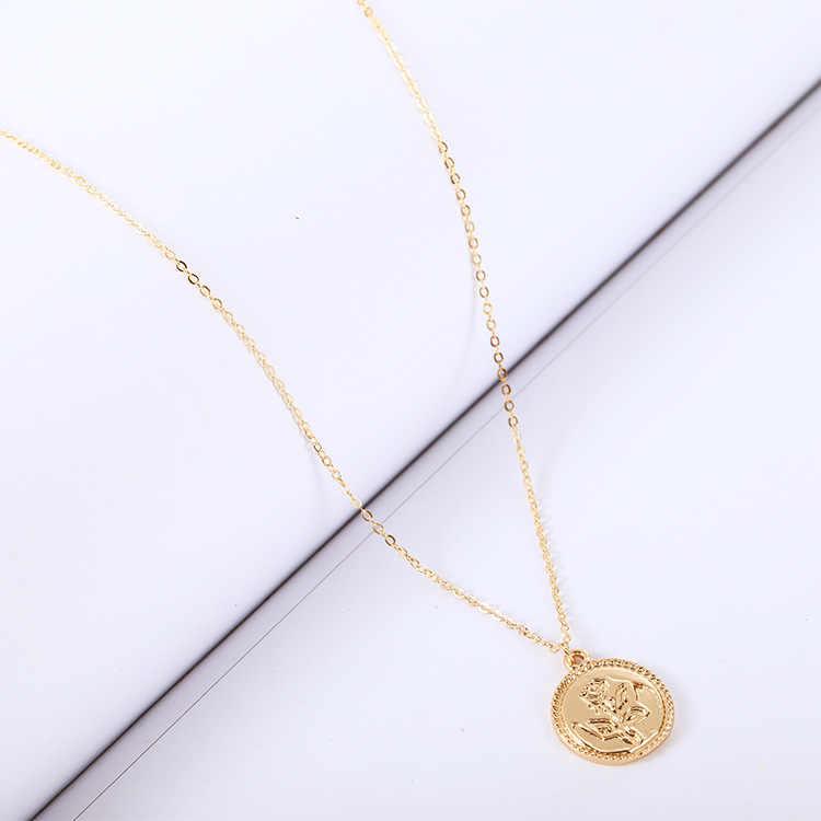 Nowa biżuteria choker pojedyncza warstwa Rose wzór naszyjnik kreatywny moda sweter łańcuch oświadczenie naszyjnik kobiet w sprzedaży hurtowej