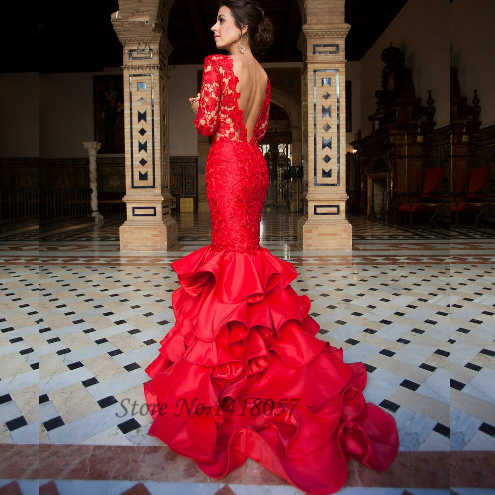 Elegant Lace Mermaid Evening Dress Red Long Sleeve Prom Dresses ...