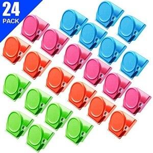 Image 2 - Clips magnétiques, 24 pièces Clips magnétiques en métal, réfrigérateur tableau blanc mur réfrigérateur magnétique mémo Note Clips aimants métal Cli