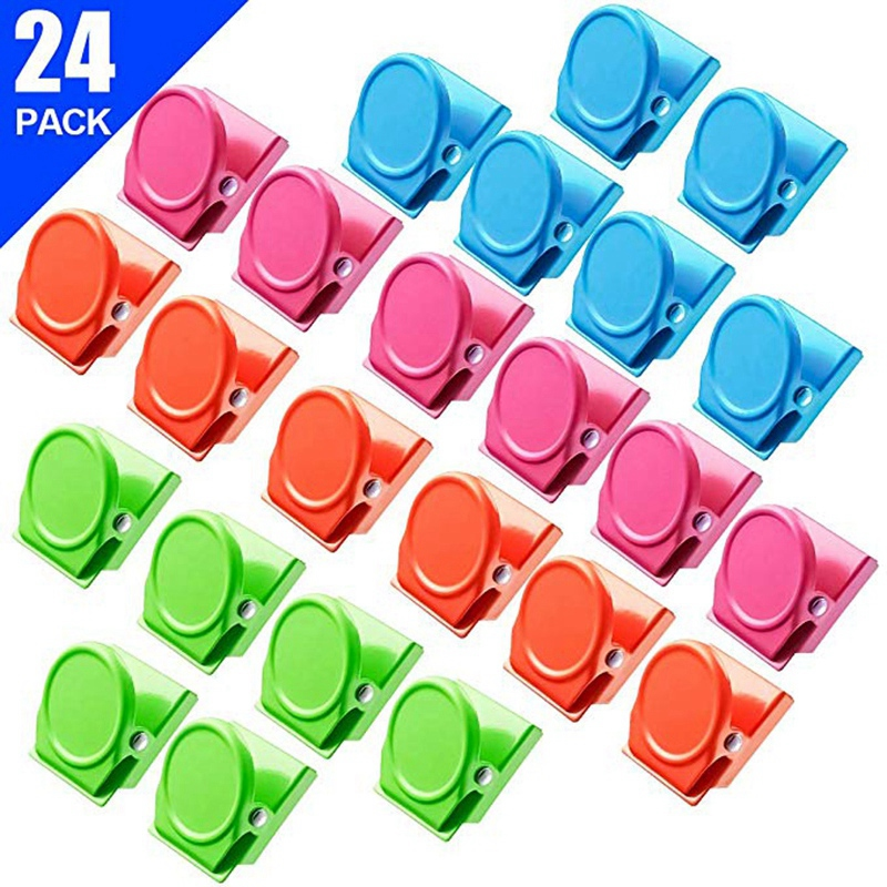 Magnetic Clips, 24 Pieces Magnetic Metal Clips, Refrigerator Whiteboard Wall Fridge Magnetic Memo Note Clips Magnets Metal Cli