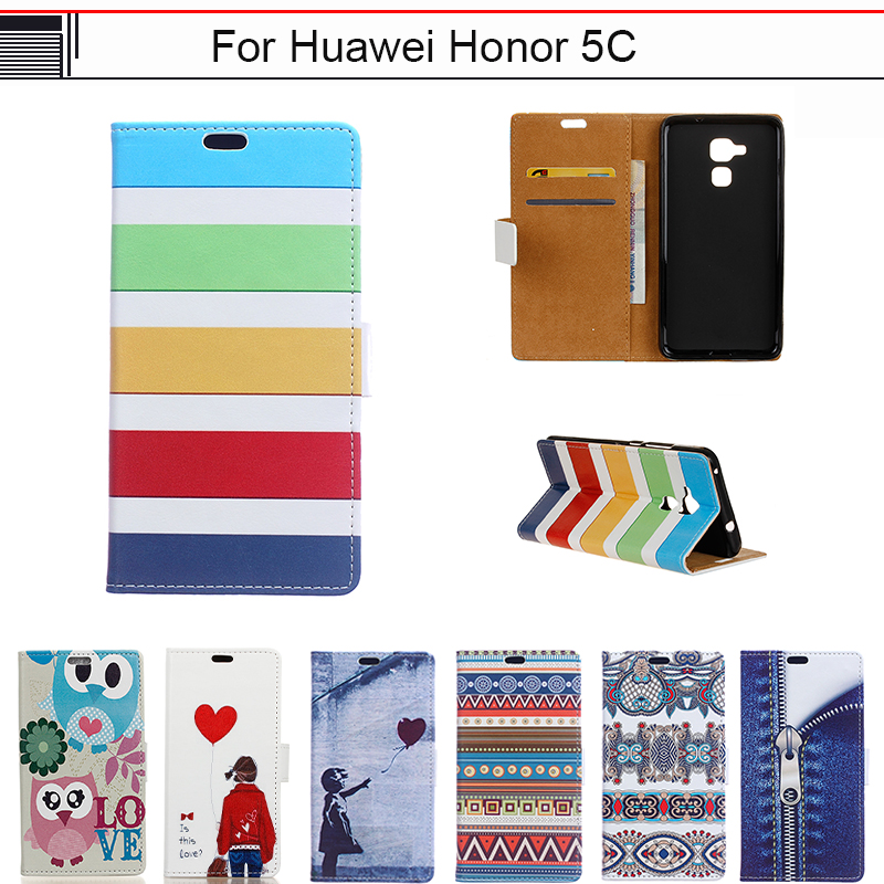 EiiMoo Case For Huawei GT3 / Honor 7 Lite / Honor 5C 5.2 Case Cartoon Wallet leather Flip Cover For Huawei Honor 5C Phone Coque