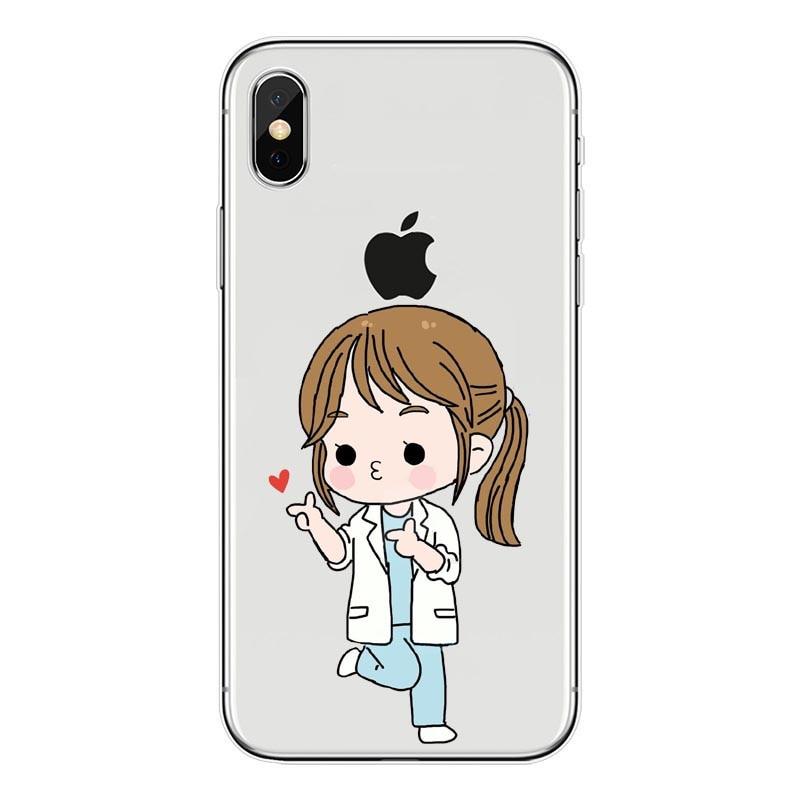Half-wrapped Case Maiyaca Spain Cartoon Medicine Doctor Nurse For Iphone 4s 5c 5s 6s Plus X Xr Xs Max Phone Cases Transparent Soft Tpu Cover Cases Exquisite Craftsmanship;