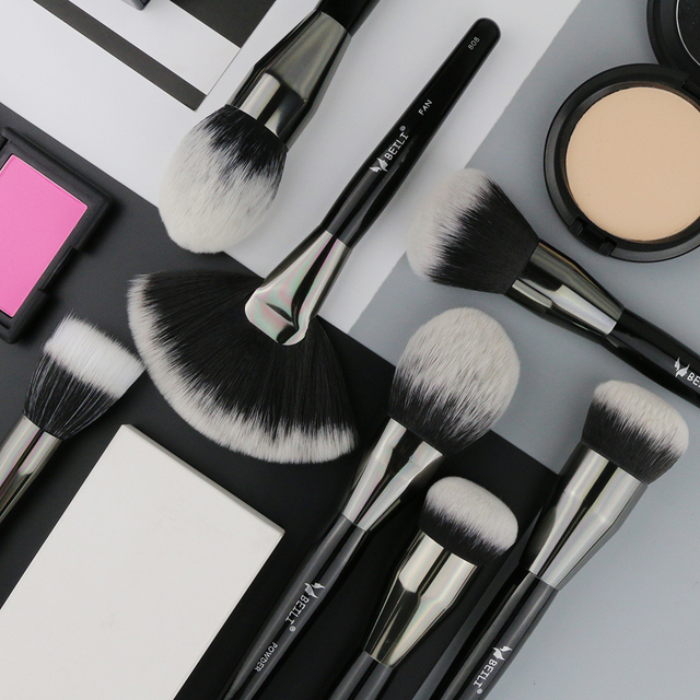 BEILI 1 pieza de cabello sintético único gran polvo ventilador crema Fundación punteado terminar solo pinceles de maquillaje