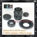 "C-Mount + 25 мм F1.4 ВИДЕОНАБЛЮДЕНИЯ 1/2 ""объектив для Olympus EP3 EP5 EM5 EPL5 EPL6 EPM2 EM1 EM10 Panasonic G2 G3 G7 GH2 GH3 GH4 GX7 GF5 камера"