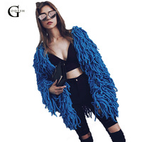 Womens Winter Faux Fur Coats 2018 Female Tassel Cardigan Overcoat Warm Knitting Shaggy Jacket Coat Fake Fur Jacket RH233