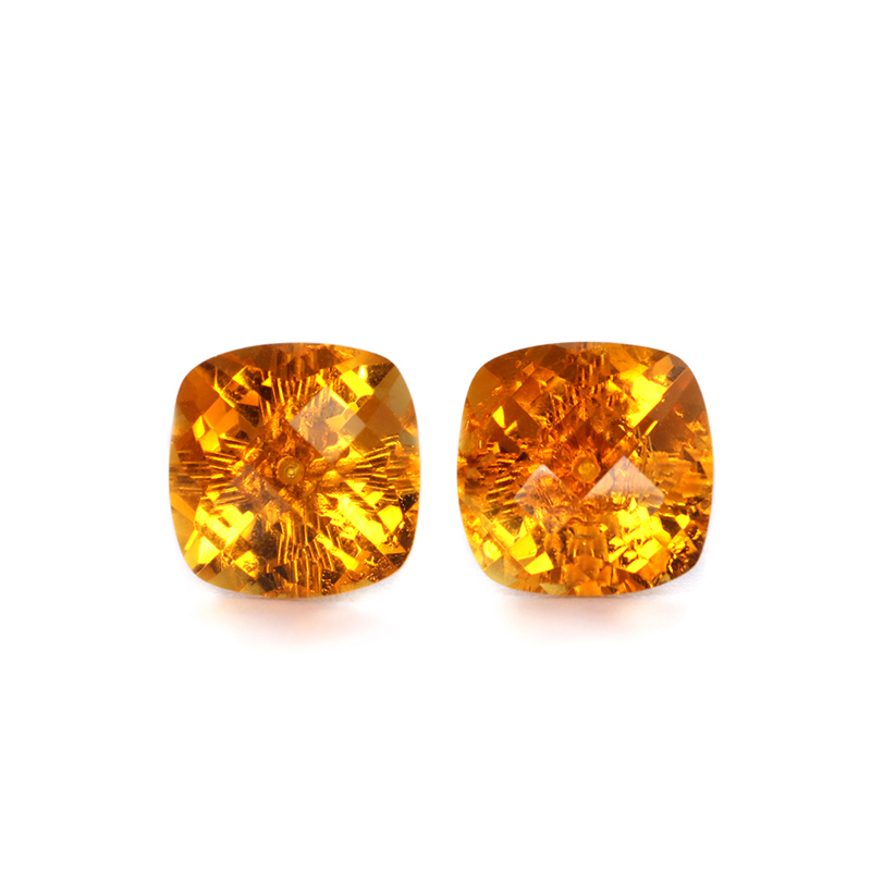 Natural citrine earrings stud for women and girl with real 18k gold,8mm square cut fashion trendy simple gemstone Statem jewelry robira new brand set fashion stud earrings 18k rose gold color trendy balls earrings for women simple fine jewelry wholesale