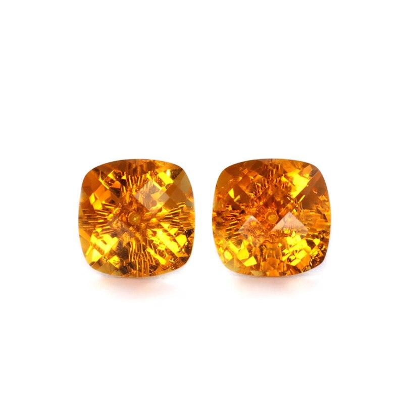 Naturel citrine boucles d'oreilles stud pour femmes et fille avec réel 18 k or, 8mm coupe carrée de mode à la mode simple pierres précieuses Statem bijoux
