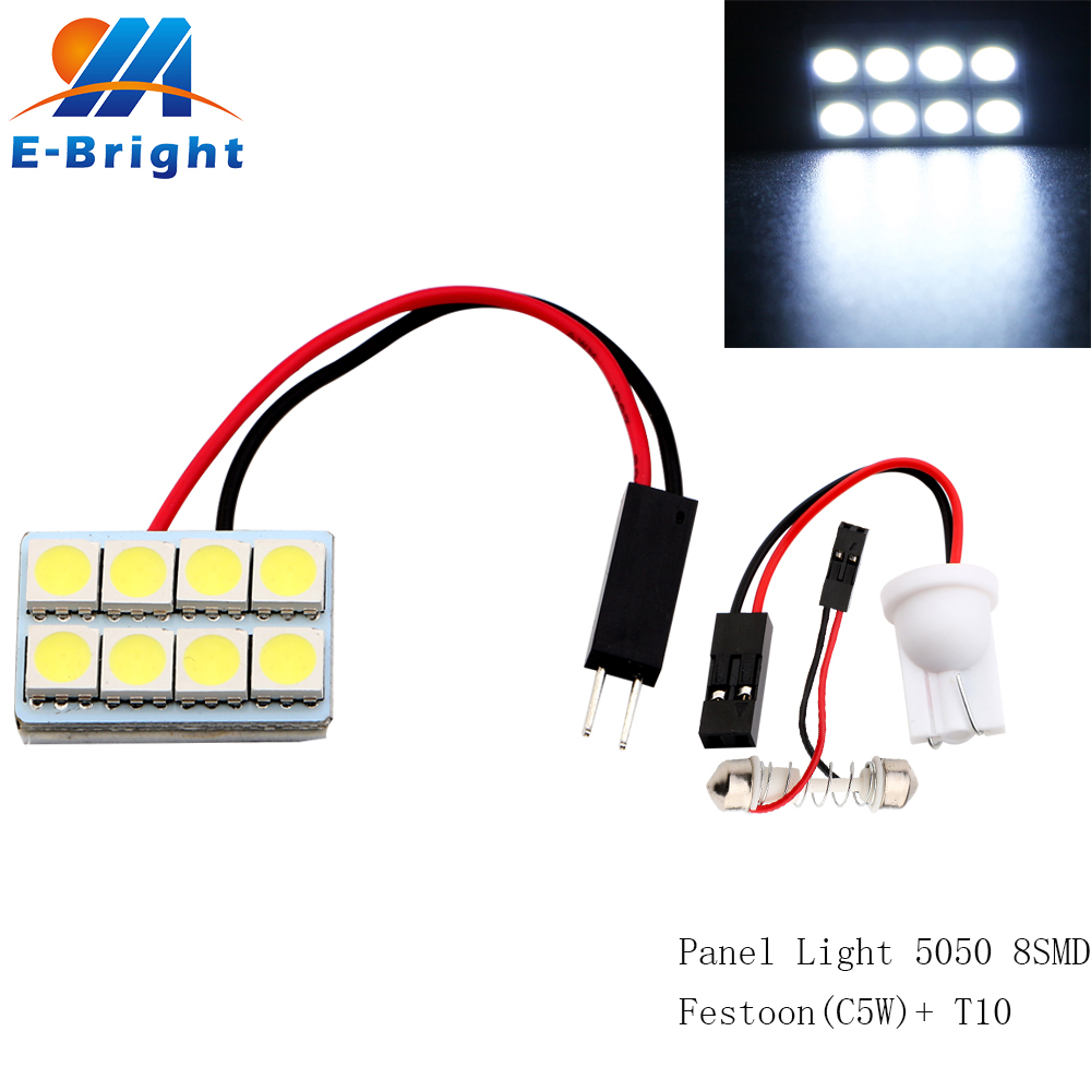 200Pcs Lot Wholesale LED Panel Lights 5050 8 SMD with Festoon T10 adapters Auto Interior Door