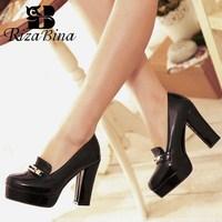 RIZABINA Free Shipping Women High Heel Shoes Women Fashion Platform Pumps Dress Office Lady Sexy Footwear P11125 Size 34 43
