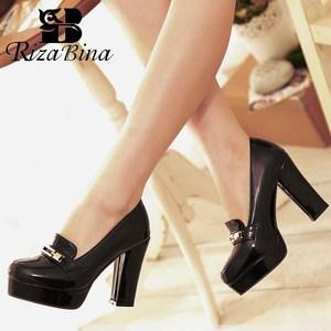 Image 1 - Rizabina 送料無料女性のハイヒールの靴女性のファッションプラットフォームパンプスドレスオフィス女性のセクシーな靴 P11125 サイズ 34 43
