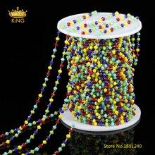 2x3mm 5 color graduado cristal enlaces Cadenas resultados, 5 metros talló rondelle cristal plateado latón cobre cuentas Cadenas Amuletos zj154