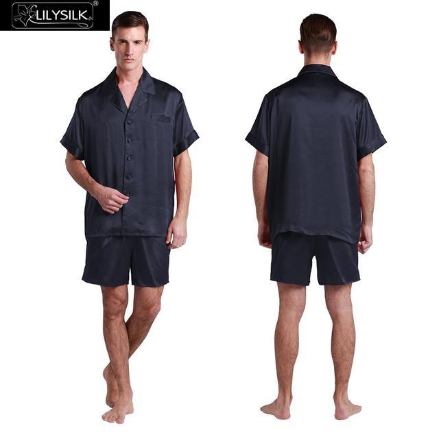 Lilysilk Puro Hombres Pijamas De Seda ropa de Dormir Conjunto Corto Camisa Con Boxer Pijamas Yukata Diseñador Masculino Lounge Wear 22mm Sexy traje
