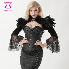 Victorian Gothic Corset Jacket Steampunk Clothing Women Corsets And Bustiers Vintage Jackets With Feathers and Long Flare Sleeve