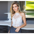 2016 New women hot sexy top embroidered openwork lace halter camisole tank top women