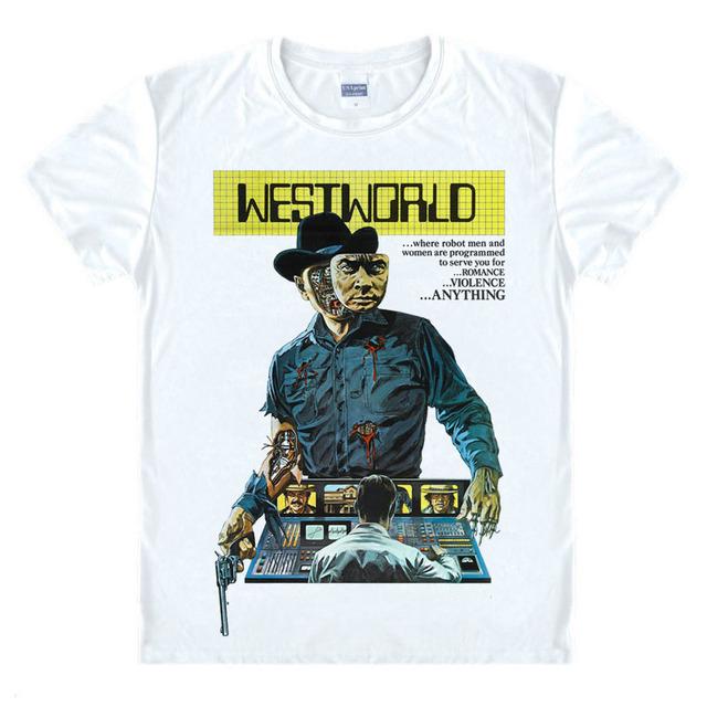 TV Hot Westworld Camisetas Hombres película O Cuello hombre camiseta de Manga Corta Para Hombre Tops camisetas