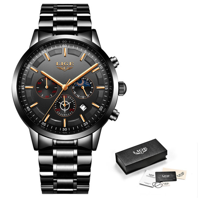 LIGE Men´s Fashion Sports Clock Top Brand Luxury Business Chronograph Waterproof Quartz Watches 5