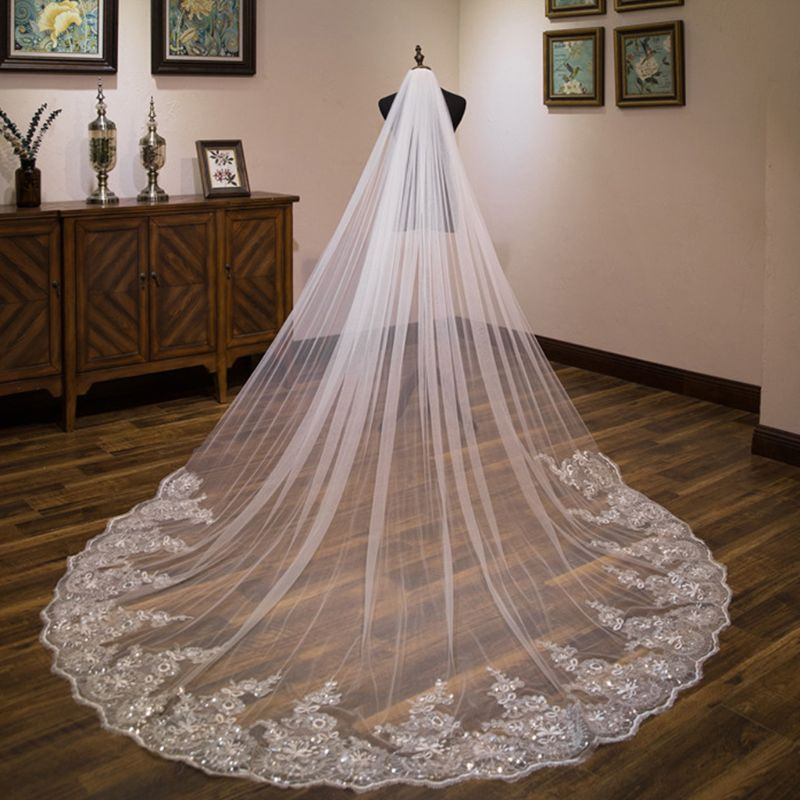Womens Glitter Sequin Floral Lace Trim Wedding Veil Jewelry Scalloped Cathedral Length Romantic Tulle Bridal Veil 4m