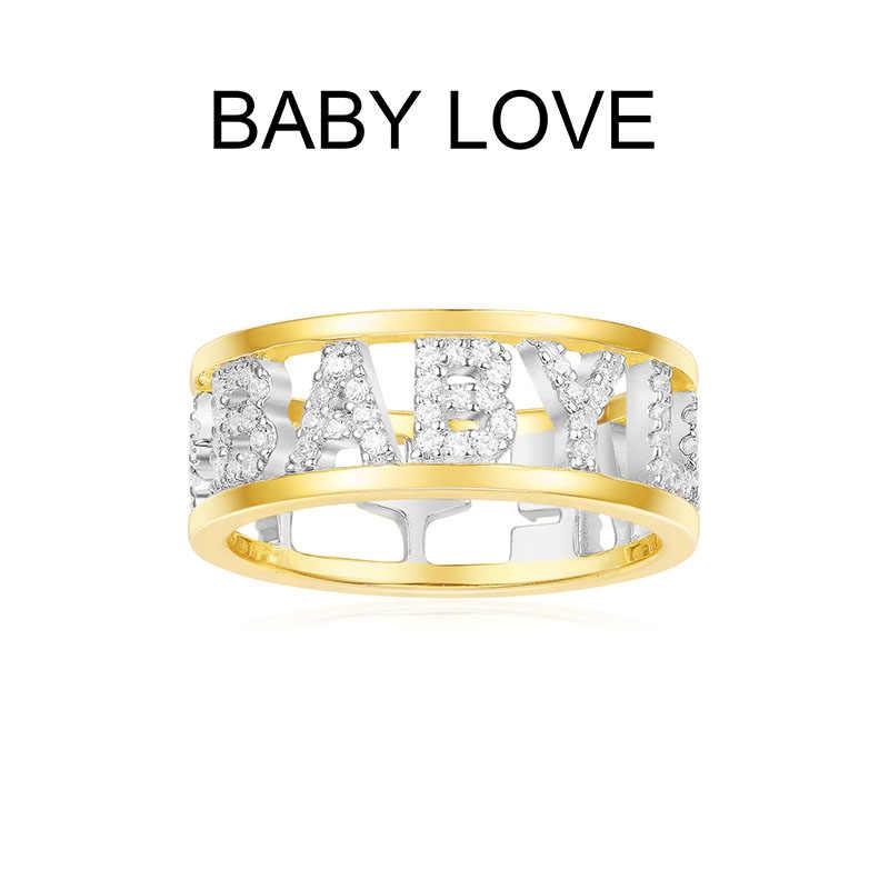SLJELY, 925 пробы, серебряное, желтое, золотое, цвет, начальная буква, ребенок, любовь, кольца на палец, кубический цирконий, камни для женщин, хорошее ювелирное изделие