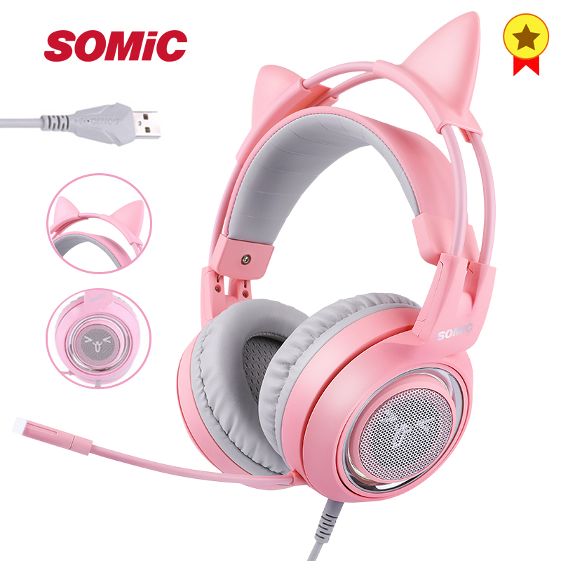 SOMIC G951 Pink Girl Cat Headset Virtual 7 1 Noise Cancelling Gaming Headphone USB Vibration LED