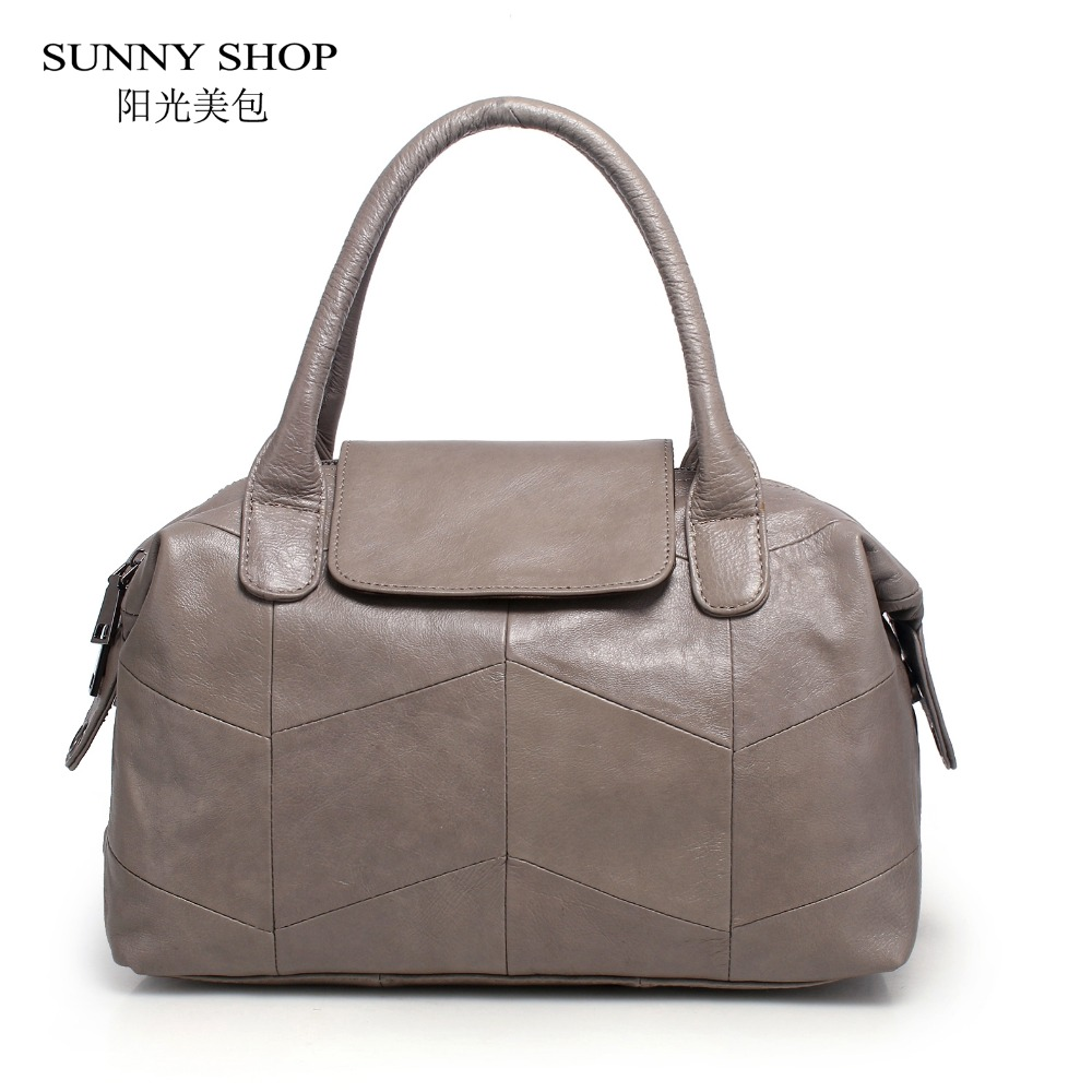 SUNNY SHOP Luxury Natural Leather Women Handbags And Purse Patchwork Skin Top Handle Bags American Fashion Messenger Bag 2017