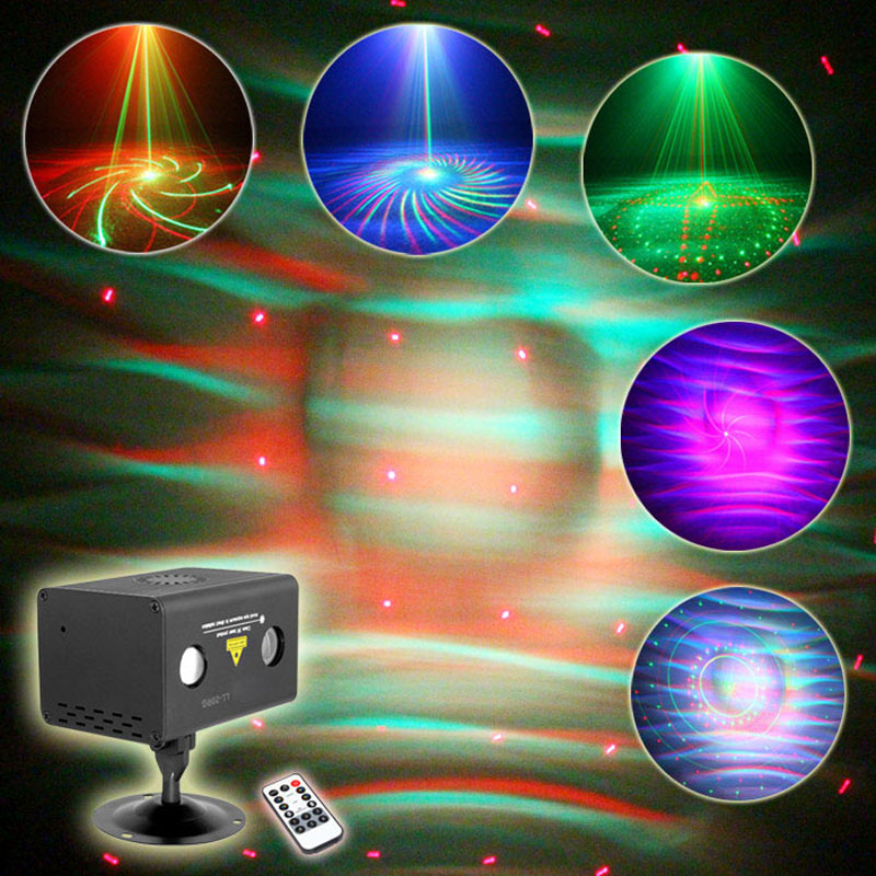 ФОТО 2016 Mini LED Light And Music 20 kinds of patterns With IR remote RGB Laser Shower For Home Entertainment