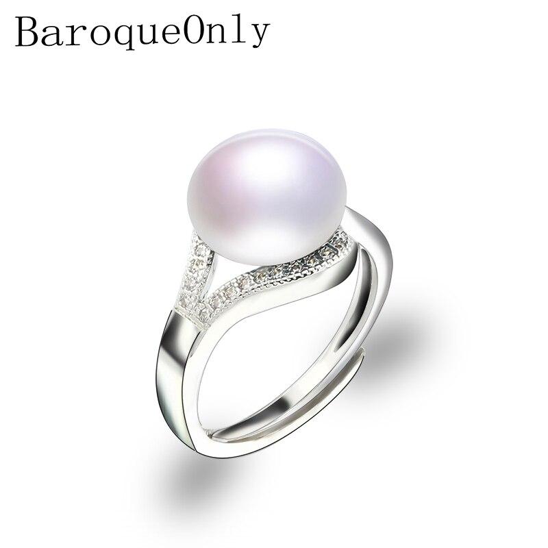 Baroqueonly Perle Ring Natürliche Süßwasser Perle Schmuck 925 Sterling Silber Ringe Für Frauen Hohe Guality Zirkon Hochzeit Geschenk SorgfäLtige Berechnung Und Strikte Budgetierung