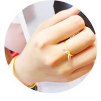 1pcs Hot sale 24K Yellow Gold Ring Women Bunny Ring Can adjustable Size 3g