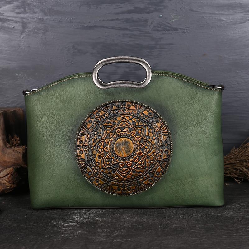 New Designer Vintage Women Genuine Leather Handbags Ladies Retro Elegant Shoulder Messenger Bag Cow Leather Handmade