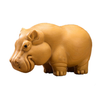 Decorative Arts Handmade Carved Poplar Wooden Hippo
