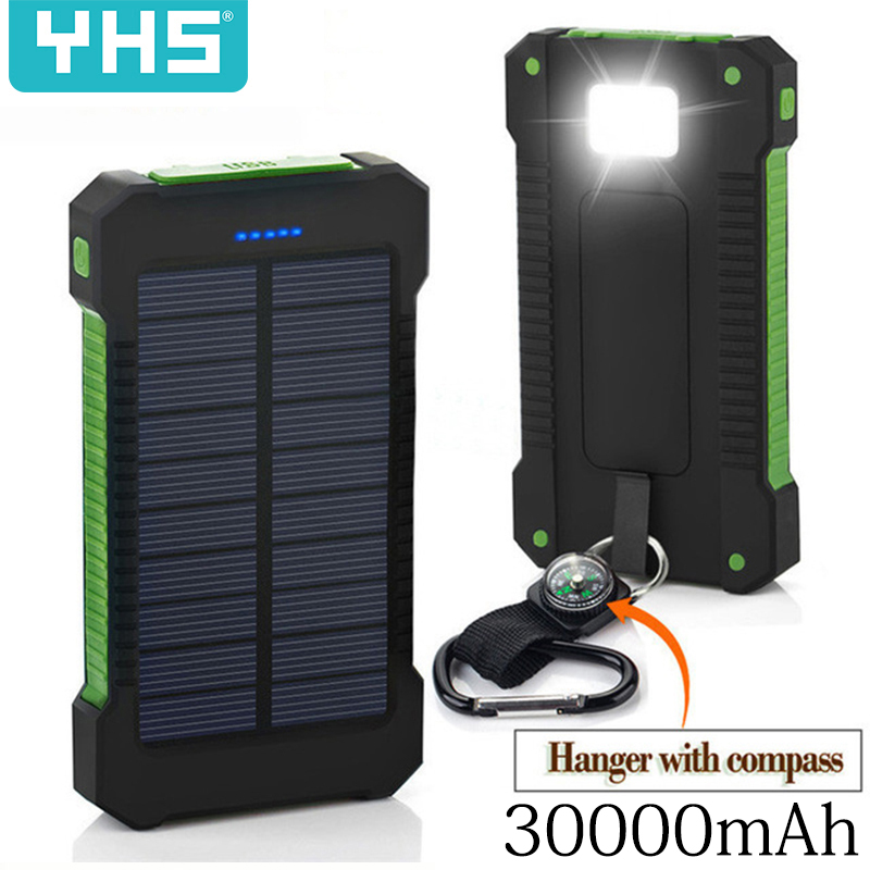 Solar Power Bank Waterproof 30000mAh Solar Charger 2 USB Ports External Charger Powerbank for Xiaomi Smartphone with LED Light(China)