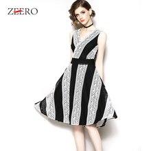 2db9b55500 ZEERO 2019 Primavera Vestido de Renda Com Decote Em V Sem Mangas Sexy Oco  Out Diagonal Stripe Patchwork Mulheres Vestidos de Fes.