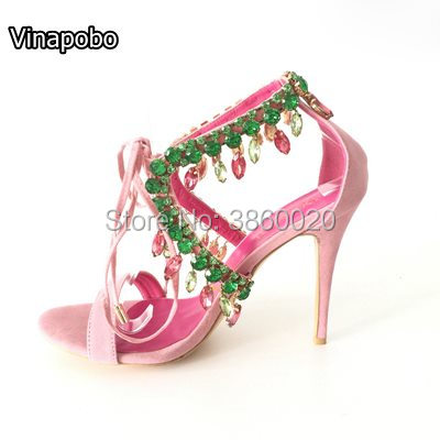 Sexy rhinestones Women Gladiator Sandals Summer Lace Up Strappy Crystal Women Sandals High Heels Thin Heels Weeding Women Shoes-in High Heels from Shoes    1