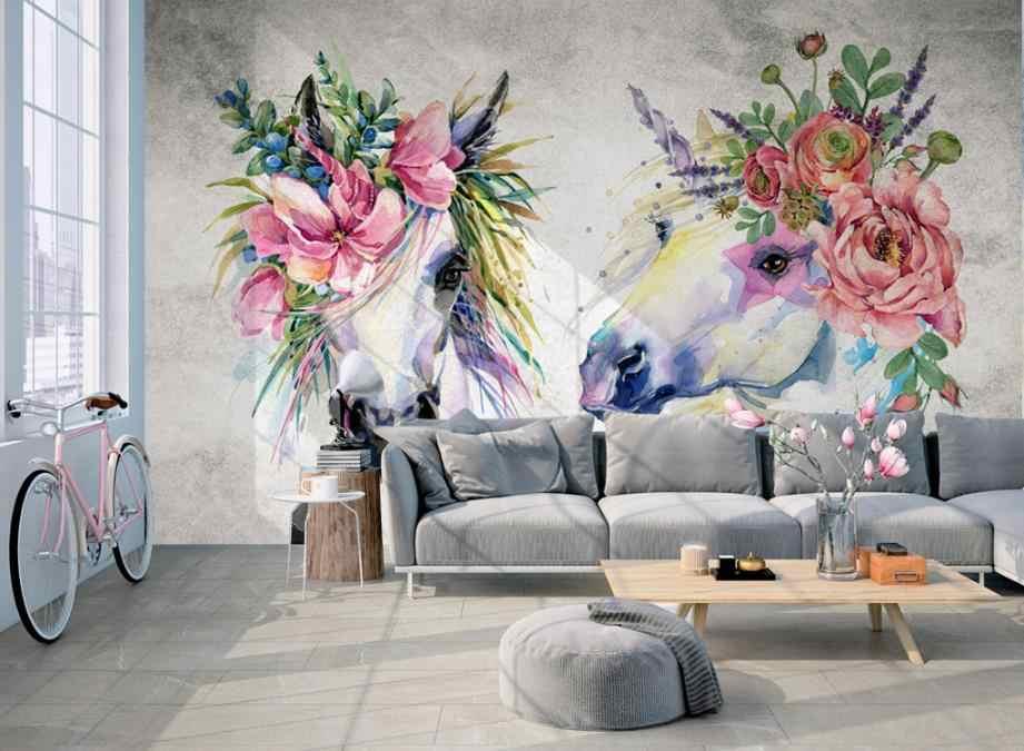 3d mural papel de parede personalizado não-tecido da flor da Aguarela cabeça de cavalo melhoria moderno papel de parede papéis de parede para sala de estar em casa