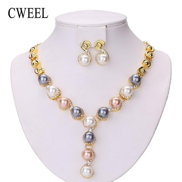 CWEEL תכשיטי סטי חתונה אפריקאית חרוזים תכשיטי סט חיקוי פרל כלה דובאי הודי אופנה חג מולד תכשיטים לנשים
